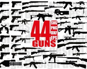 GUNS SILHOUETTE SVG, weapon svg, army svg, military svg, bullets svg, gun svg, gun clipart, pistol, cut file, stencil, iron on