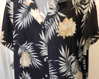 Heavy Silk Twill Woman's Hawiaan Tropical Blouse XXL