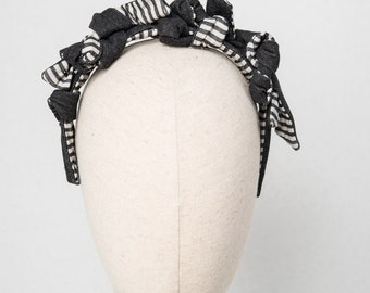 "HEADPIECE ""knots"" black jeans and striped fabric"