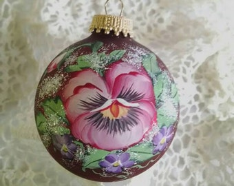 Pansy Ornament, Pink Pansy, Hand-Painted, Purple Violets, Glass Ornament, Victorian, Free Inscription