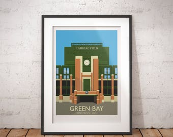 Green Bay PACKERS, Lambeau Field, Wisconsin, USA - signed travel poster print