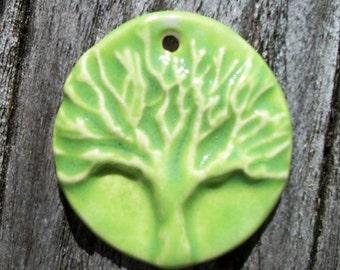 Handmade Ceramic Lime Green Tree of Life Pendant