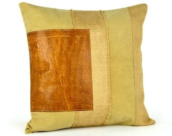 Rustic patterned leather pillow ~ Burlap pillows ~ Canvas Pillow ~ 18x18,  Rustic Leather pillow ~ Throw pillows ~ Farmhouse Pillow