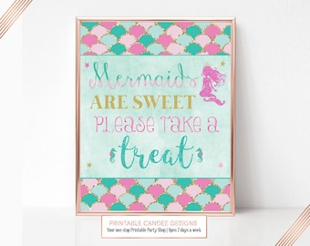 Pink Mermaid Birthday Party sign Candy Table Art Mermaid are Sweet Treat Decor Printable 8x10 Instant Download