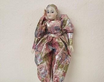 Vintage Harlequin jester doll, porcelain extremities, colorful doll, harlequin doll, clown doll, court jester, jester doll, alladin doll