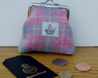 Harris Tweed Coin Purse / Handmade / Pale Pink and Blue