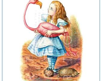 ALICE & The FLAMINGO Croquet Mallet. Classic Tenniel's Alice Vintage Illustration. Digital Wonderland Download.