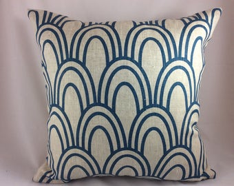 """Studio Bon """"Scallop"""" in Prussian (teal) pillow cover"""
