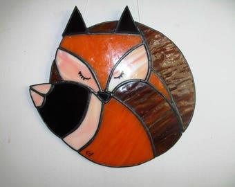 Stained glass asleep little fox