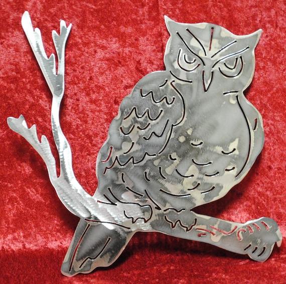 Owl on a Tree Branch, Owl, Nocturnal Birds, Metal Owl Wall Art, Metal Owl, Bird Art, Birds of Prey, Owl Lovers, Bird Watchers, Metal Decor