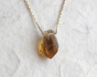 Rough Citrine Gold Filled or Sterling Silver Necklace - Raw Citrine Jewelry - Golden Yellow Citrine Necklace - November Birthstone