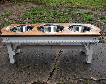 Solid Wood Elevated Dog Bowl Pet Feeder, 2 Two Quart Stainless Bowls, 1 Three Quart Stainless Steel Bowl, For Large Dogs, Made To Order