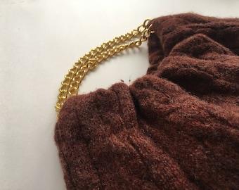 Rust Wool Recycled Sweater Purse - Handmade Wool Handbag with Gold Chain Handles - Ready to Ship