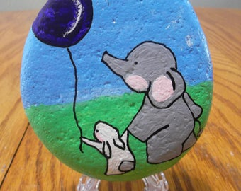 Hand painted Rock Elephant and Bunny