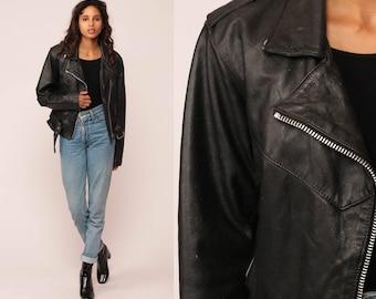 Leather Jacket 80s Black MOTORCYCLE Jacket Biker 1980s Vintage Moto Punk Rock Hipster Coat Zippered Epaulette Extra Small xs