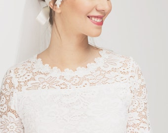 Bridal Ivory Flower Beaded Lace Headband - 20s Flapper Girl Inspired Wedding Headpiece
