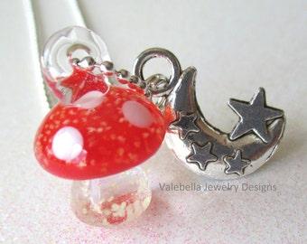 Necklace 3D Mushroom glow in the dark charm necklace shroom fungi girl kids tween teen jewelry birthday gift GLOWS glowing pendant necklace