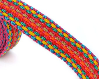 20 cm flat red multicolor braided cotton cord