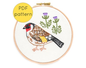 Goldfinch Bird Hand Embroidery Pattern, PDF Download