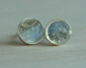 Adularia (Blue Flash Ceylon Moonstone) Gemstone 5mm Bezel Set on Titanium / Niobium Posts - Hypoallergenic Stud Earrings for Sensitive Ears