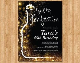 Aged to Perfection Invitation Wine Birthday Invitation Adult