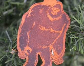 Full body Bigfoot key fob. Leather Keychain