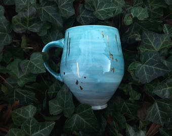 Blue Ombre Mug with Gold Falling Stars --Big Handle
