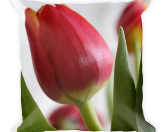 Spring nature inspired Square Pillow home decor. Red Tulip