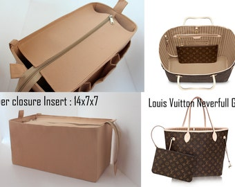Purse organizer for Louis Vuitton Neverfull GM with Zipper closure- Bag organizer insert in Sand