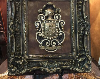 Decorative Embellished Shield with Bling Wall or Tabletop Frame - FREE SHIPPING