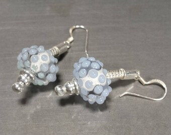 Earrings in shades of blue and clear glass. Lampwork Glass Beads