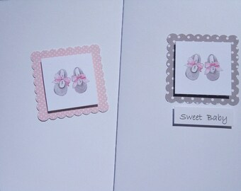 Welcome Baby Girl Cards - Baby Shower Cards - Baby Gift Thank You Cards - Baby Shower Invitations - Baby Booties Cards  GPBC2
