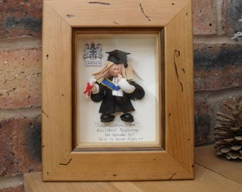 PERSONALISED Graduation Gift, Female Graduate, Custom Made Polymer Clay Character Pictures