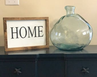 Rustic 'HOME' sign (white/black)
