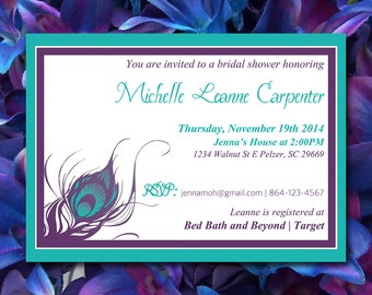 "Bridal Shower Invitation Template - Peacock Wedding Invitation Word Template - Purple Teal ""Peacock Feather"" - Wedding Shower Invitation"