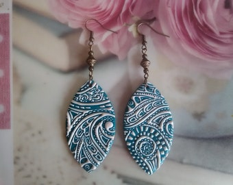 Turquoise pattern earrings in polymer clay / gift idea