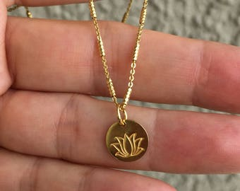 Gold Lotus Necklace-small Lotus New Beginnings -Lotus Flower Necklac-Dainty Lotus Necklace-Graduation Necklace -Lucky Lotus