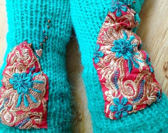 teal arm warmers w mohair, Indian vintage applique/ fingerless gloves in teal