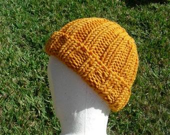 Merino Stocking cap, watchcap, longshoremans hat, beanie, skull cap orange yellow mango