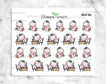 BUJI-261 | Lazy Monday / Tired of Work | Hand-drawn Planner Stickers