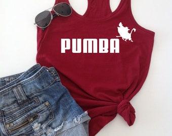 Funny Pumba Shirt ,Racerback Tank top, shirt, women's tank, summer accessory, Friend gift, Disney Gift, Lion King Puma Logo, Timon, Simba