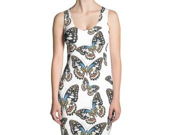 Dress with watercolor butterflies on it