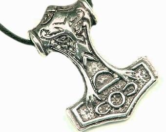 Thor's Hammer Necklace Pewter Pendant Viking Mjollnir Norse 1164Ax