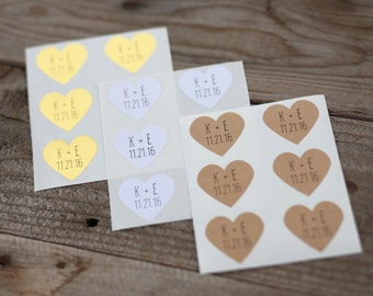 24 Custom Heart Stickers With Initials and Date - Wedding Stickers and Envelope Seals