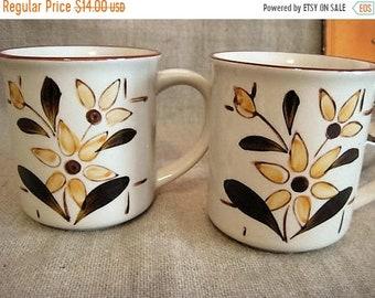 Vacay No Ship Til 5/25 Vintage German Floral Mugs  / Pair of 70's Small Coffee Mugs / Handgemalt Floral Coffee Mug