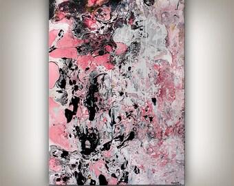 Painting, MIXED MEDIA Art Pink and Black Wall Art, Original Modern Fine Art, Large Home Decor, Wall Hanging Artwork by Nandita Albright