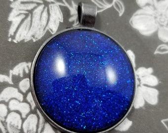 Blue Glitter Nail Polish Pendant, Round Glass Cabochon