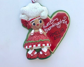 Gingerbread Granddaughter Personalized Christmas Ornaments / First Christmas Ornament / Sweet Granddaughter