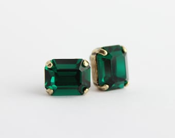 Swarovski earrings, emerald post earrings. emerald earrings, emerald stud earrings, small octagon earrings, emerald green earrings  E07