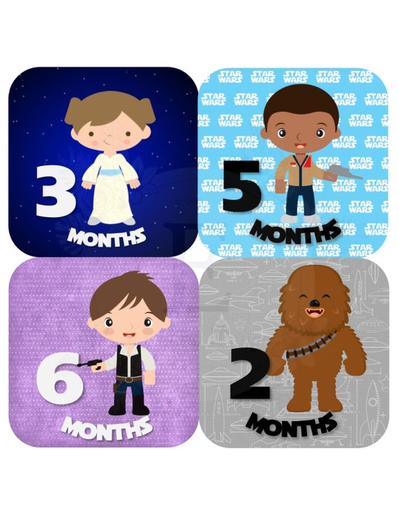 Star wars month stickers baby girl monthly stickers baby month stickers months 1 12 stickers baby girl stickers